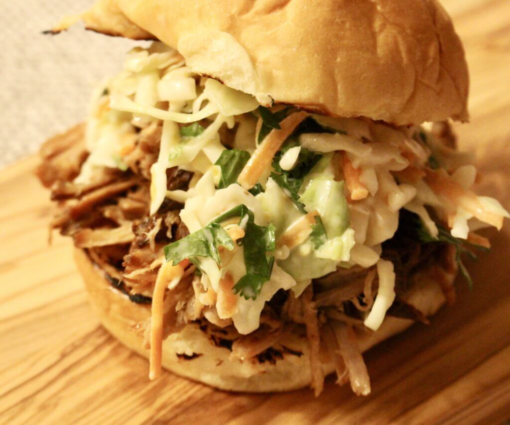 Rubbed and Pulled Pork from the Crockpot with Coleslaw