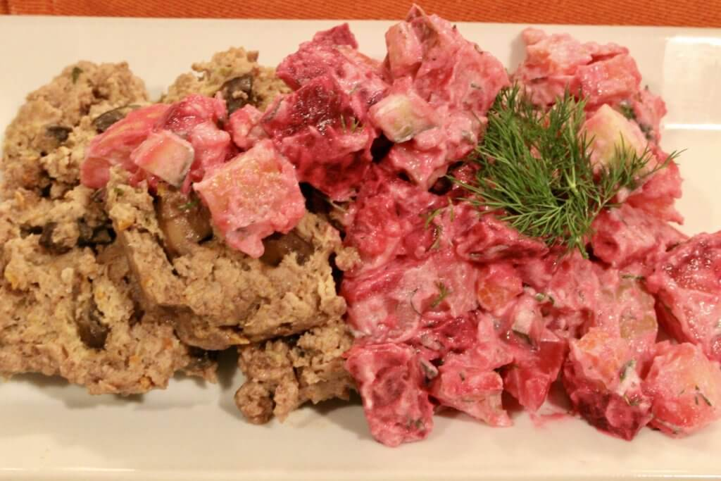 Meatloaf Stroganoff Style with Russian Salad
