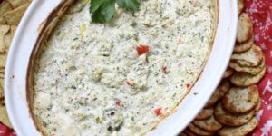 Healthy and Creamy Warm Broccoli Feta Yogurt Dip–More Red and Green