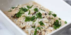 """Creamy Cauliflower Rice """"Risotto"""" with Wild Mushrooms and Thyme"""