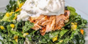 Kale, Butternut Squash, Corn and Avocado Salad with Spicy Salmon and Tzatziki