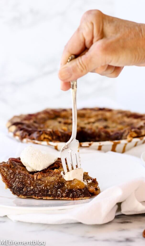 Double Sticky Chocolate Pecan Pie with Bourbon Whipped Cream