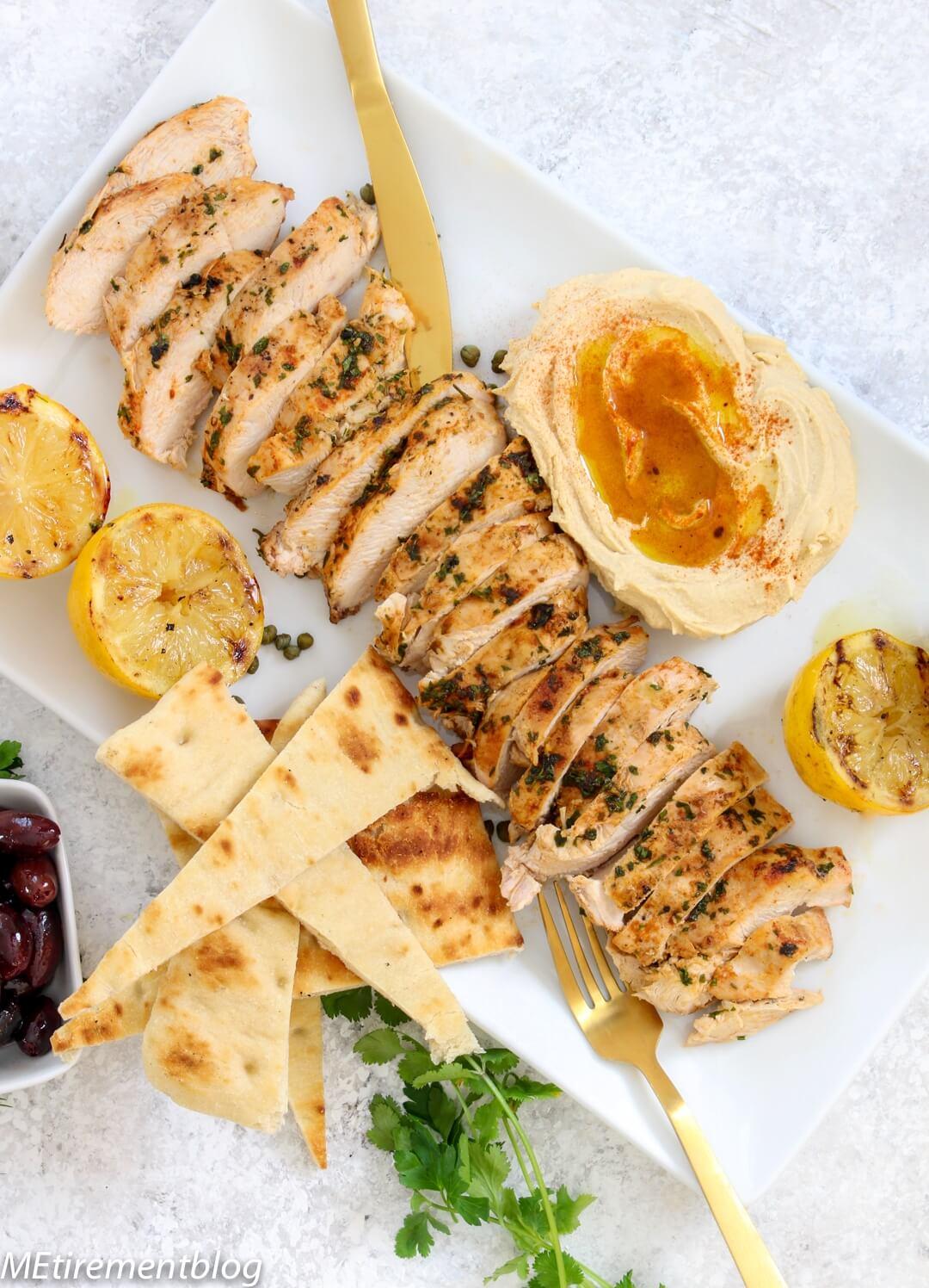 Mediterranean Grilled Chicken Platter With Hummus Eggplant More